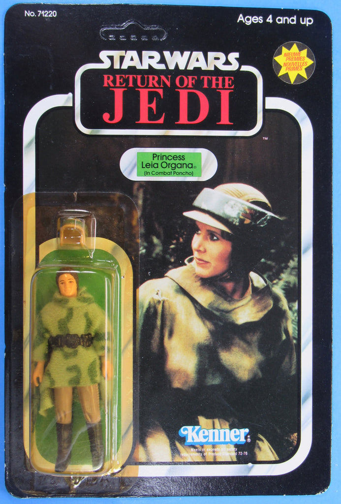 Princess Leia (Combat Poncho) ROTJ with Dutch stickers / catalog - MOC - Kellerman Star Wars Kenner Collection
