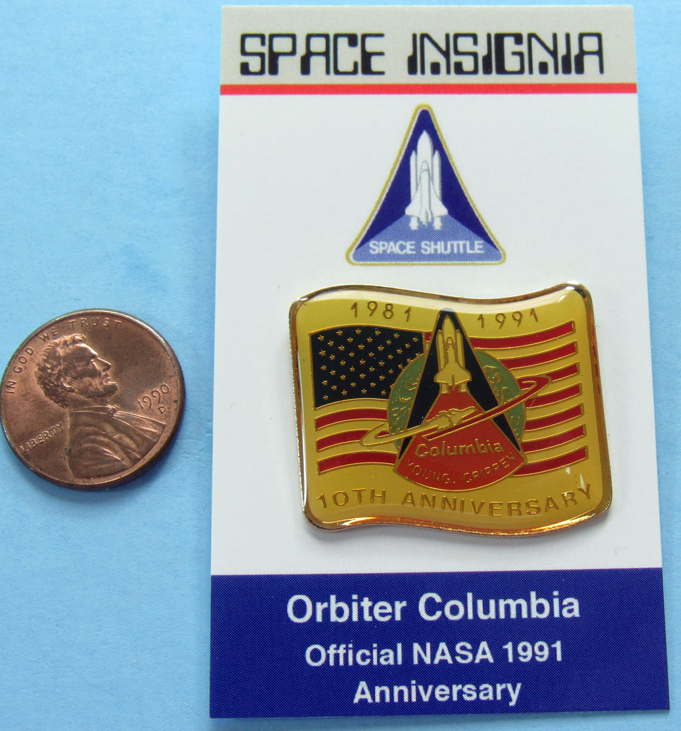 Space Shuttle Columbia OFFICIAL 10th Anniversary enamel PIN - NASA wholesale lot of 25
