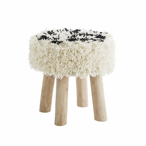 hocker >boho fringe< off-white/schwarz