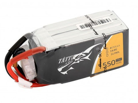 Tattu 1550mAh 14.8V 75C 4S1P Lipo Battery Pack.