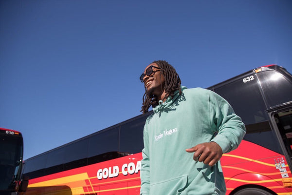 Atlanta Falcons Running Back Todd Gurley wearing the Washed Mint Rude Vogue Hoodie.
