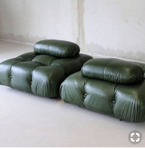 Forest Green furniture with a Cement Wall