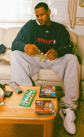 Cleveland Cavaliers Lebron James as a Rookie eating grapes and Mike & Ike candy