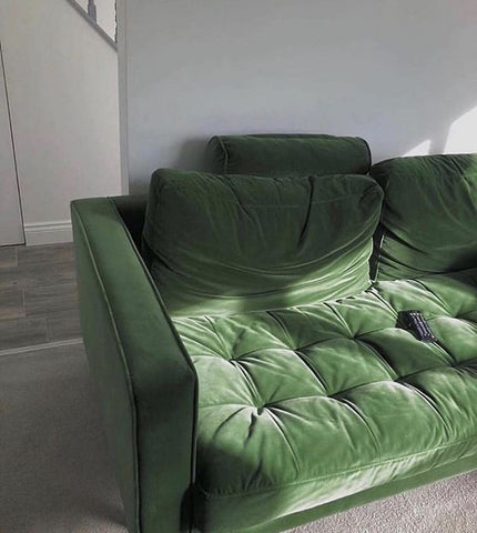 Forest Green Suede Velvet Couch With Natural Sunlight