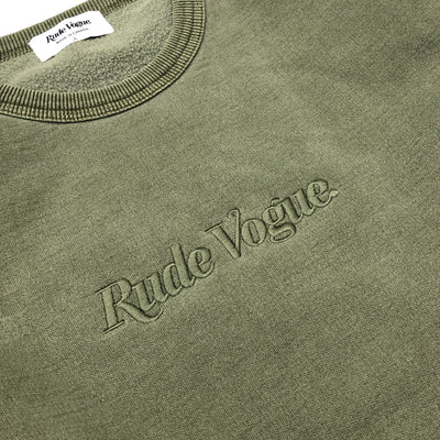RUDE VOGUE TONAL SWEATSHIRT - WASHED OLIVE Hoodie RudeVogue