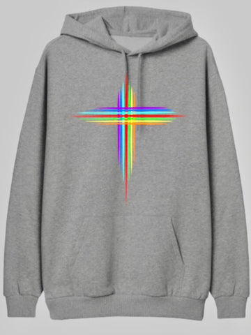RAINBOW CROSS HOODIE - MAKEMEAVAILABLE.COM