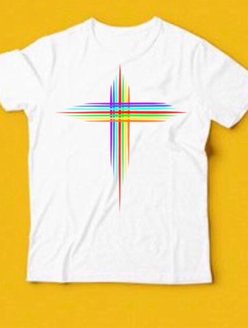 KIDS RAINBOW CROSS TEE - MAKEMEAVAILABLE.COM
