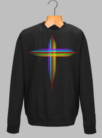 RAINBOW CROSS SWEATSHIRT - MAKEMEAVAILABLE.COM