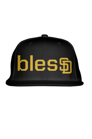 Black blesSD Premium Snapback with Gold Lettering