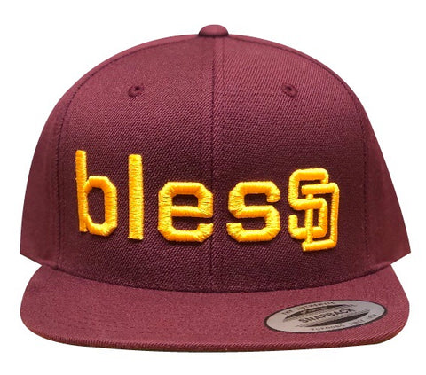 Burgundy blesSD Hat with Yellow Font