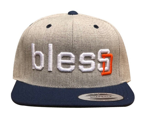 "Heather/Blue Bill ""blesSD"" Premium Snapback"