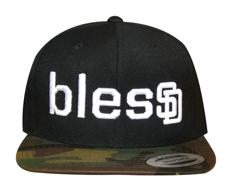 Black blesSD Hat with Camo Bill