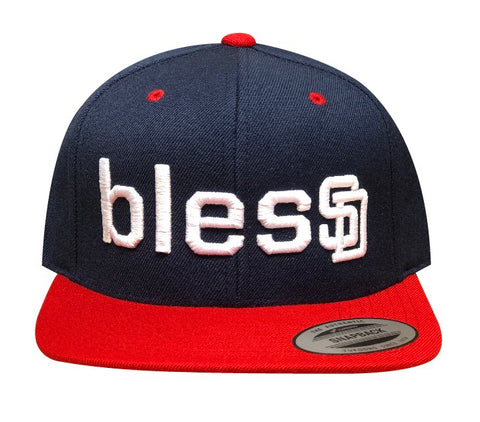 Navy blesSD Hat With Red Bill
