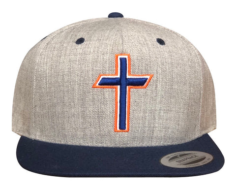 "Heather Navy ""Cross"" Premium Snapback"
