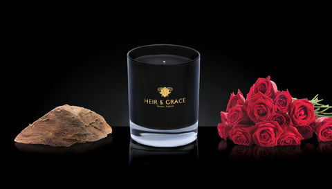 Rose & agarwood - Black & gold candle