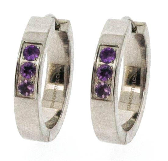 Stainless Steel Huggie's with Synthetic Amethyst.