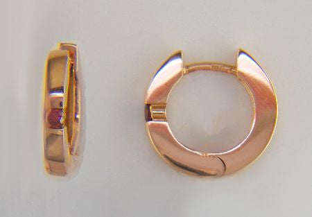 14k Rose Gold Huggies with Pink Diamonds