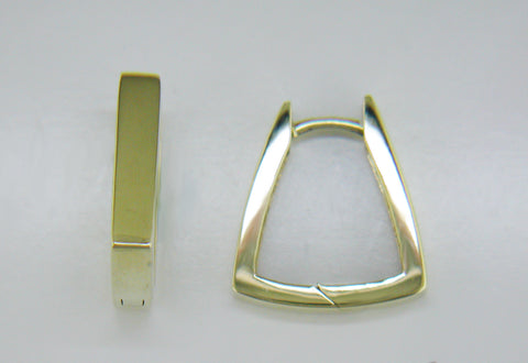 14k Yellow Gold Trapezoid Huggies