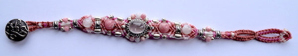 Isha Elafi Gio Bracelet Pink & White With Rose Quartz Stone
