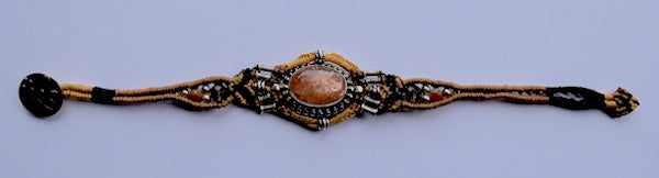 Isha Elafi Ishi Bracelet Gold & Tan With Gold & Orange Quartz Stone