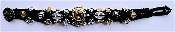Isha Elafi Simple Bracelet Black With Citrine Stone & Clear Beads