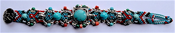 Isha Elafi Simple Bracelet Turquoise & Red With Turquoise Stone