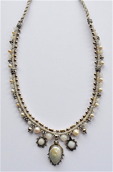 Isha Elafi Snake Necklace White With Pearl Drop