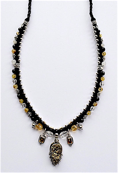 Isha Elafi Snake Necklace Black With Citrine Stone