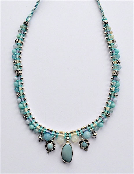 Isha Elafi Snake Necklace Blue With Blue Bonamite Stone