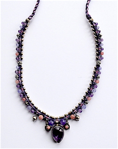Isha Elafi Snake Necklace With Purple Amethyst Drop