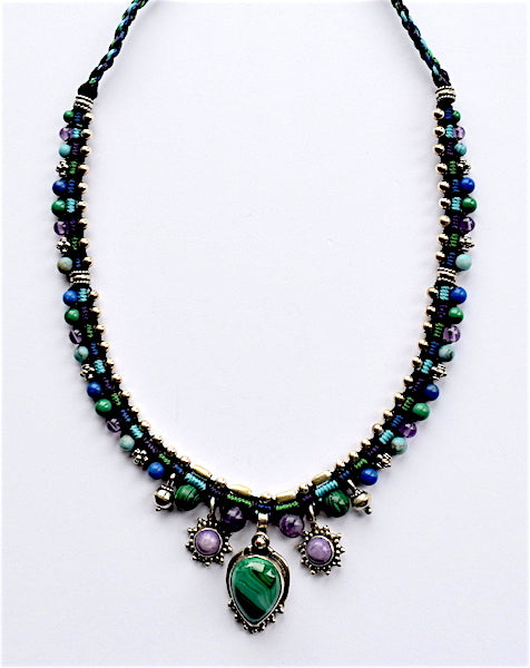 Isha Elafi Snake Necklace Purple, Green & Blue With Malachite Stone