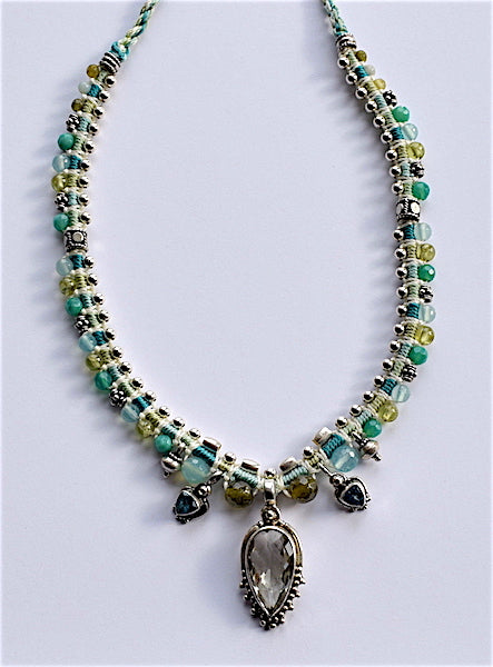 Isha Elafi Snake Necklace Light Green & Blue With Clear Quartz Stone