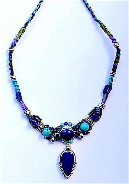 Isha Elafi Gio Necklace Blue, Purple Turquoise With Lapis Drop