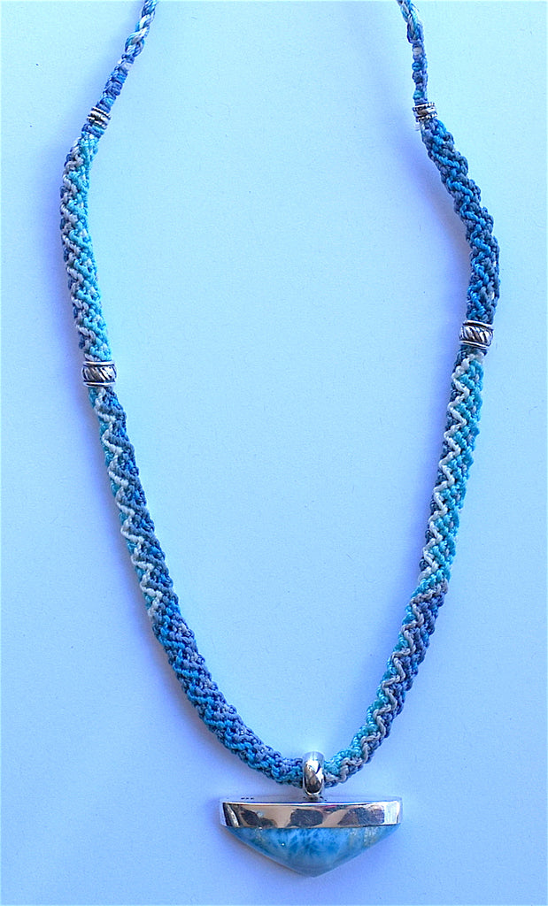 Isha Elafi Rope Necklace Light Blue With Blue Laramar Stone
