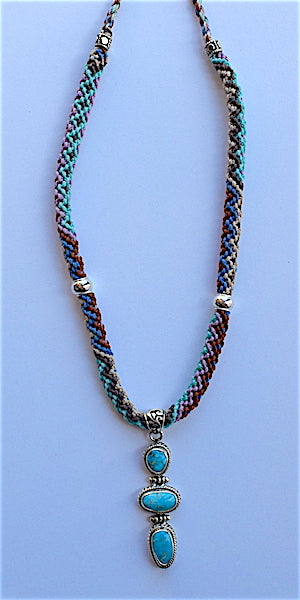 Isha Elafi Rope Necklace Blue, Pink, Tan With Turquoise Drop
