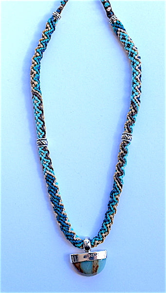 Isha Elafi Rope Necklace Turquoise, Tan With Turquoise Drop
