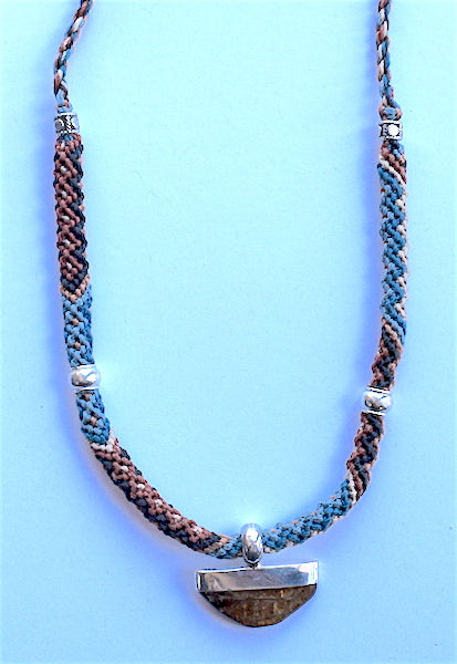 Isha Elafi Rope Necklace Brown, Blue With Amber Drop