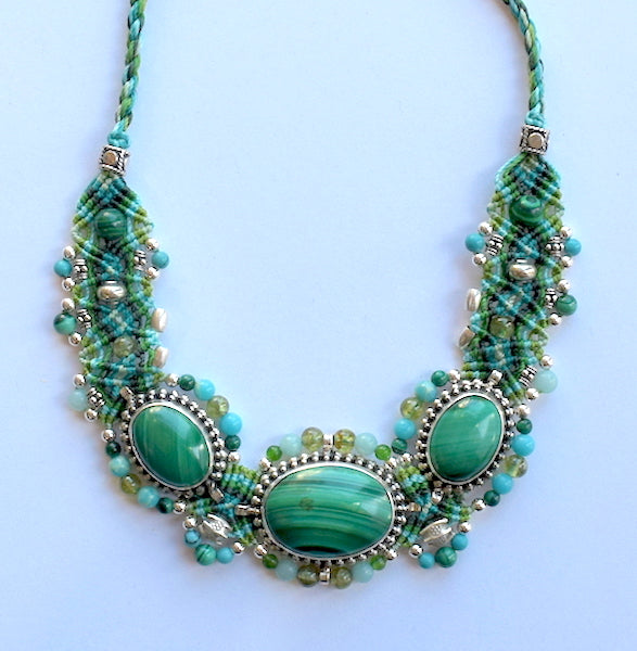 Isha Elafi BCNP Necklace Greens, Blue With Malachites