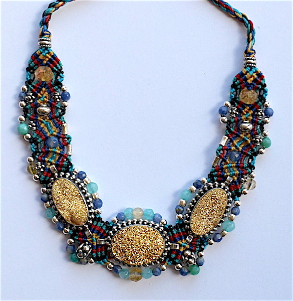Isha Elafi BCNP Necklace Turquoise Red & Gold With Druzy