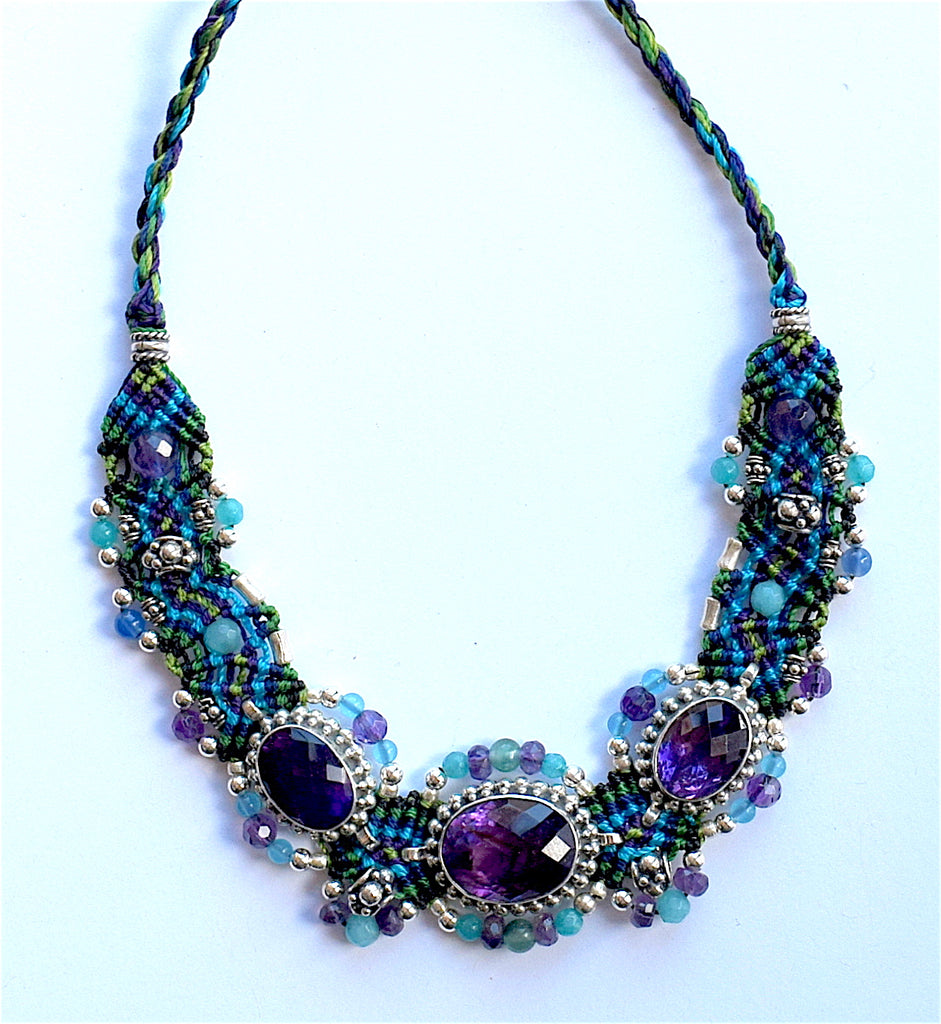 Isha Elafi BCNP Necklace Blue, Purple With 3 Amethyst Stones