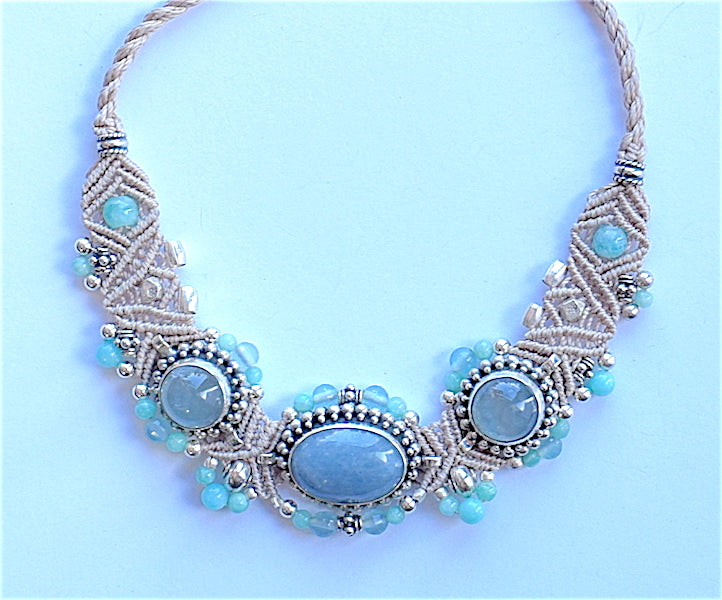 Isha Elafi BCNP Necklace Beige, Blue With Blue Moonstones