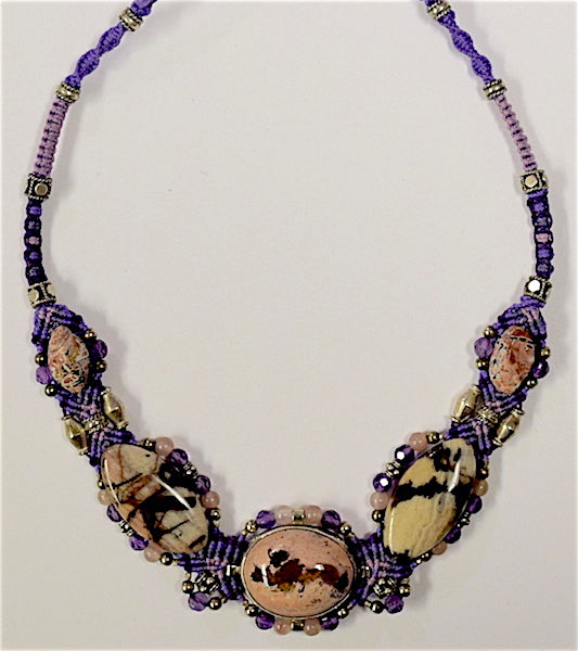Isha Elafi Big Gio Necklace Purple, Pink With 5 Jasper Stones