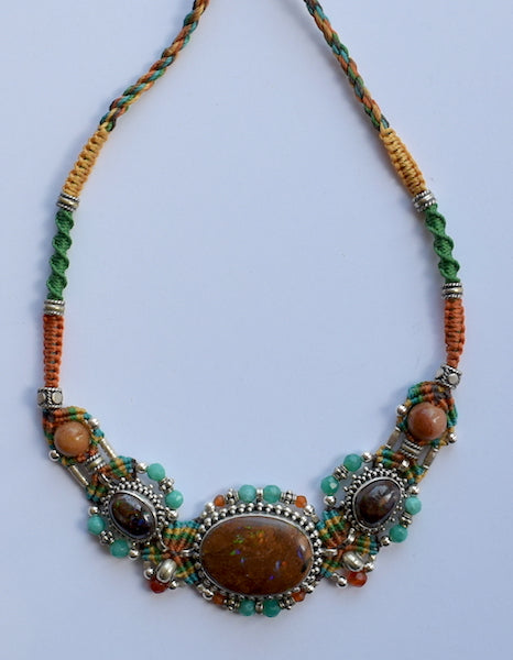 Isha Elafi Big Gio Necklace Brown, Green With Brown Fire Agate Stones