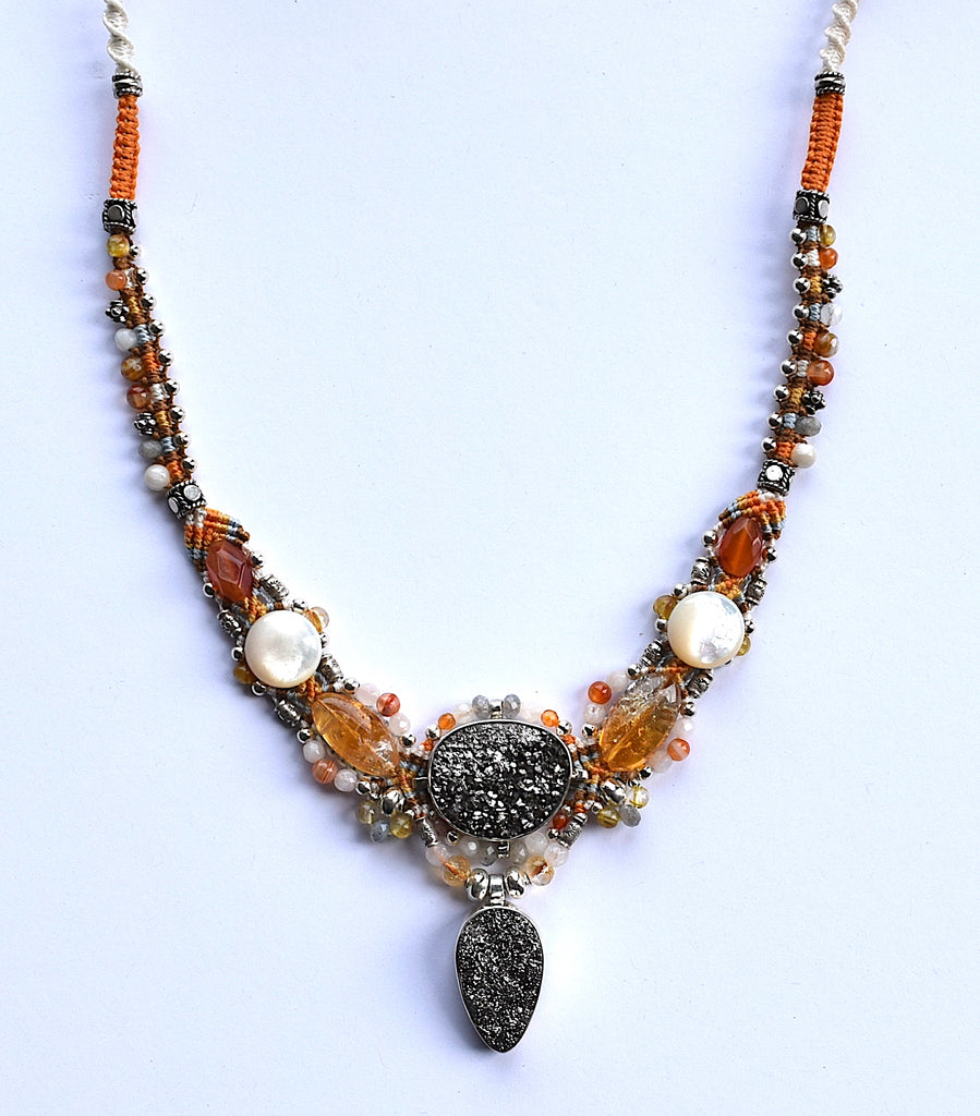 Isha Elafi Kris Necklace Orange, White With Silver Druzy