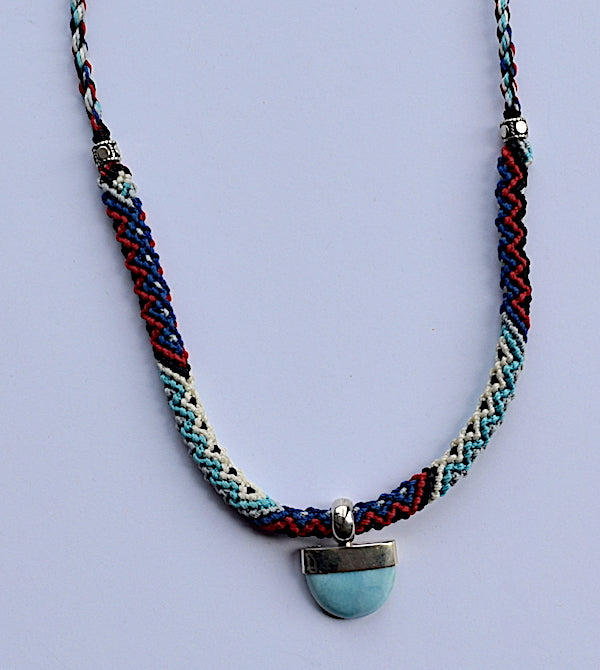 Isha Elafi Rope Necklace Blue, Red, White With Larimar Stone