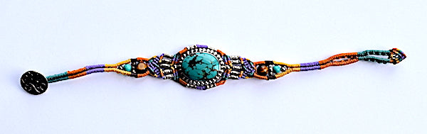 Isha Elafi Ishi Bracelet Purple, Gold, Orange With Turquoise Stone
