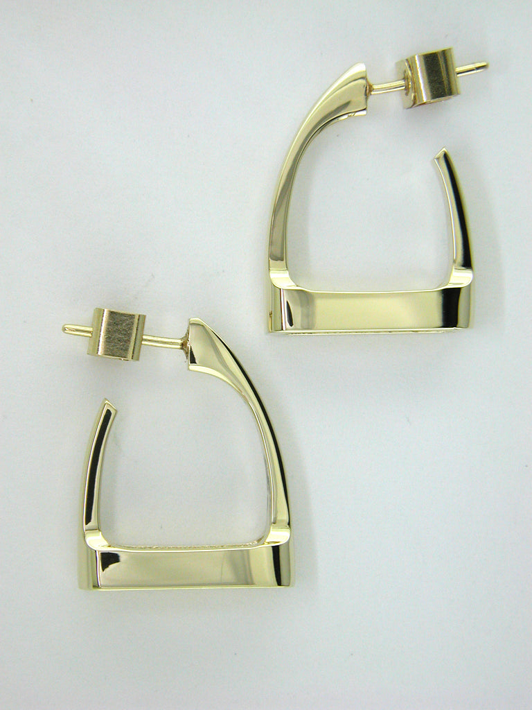 Sideways Stirrup Earrings in 14k Gold