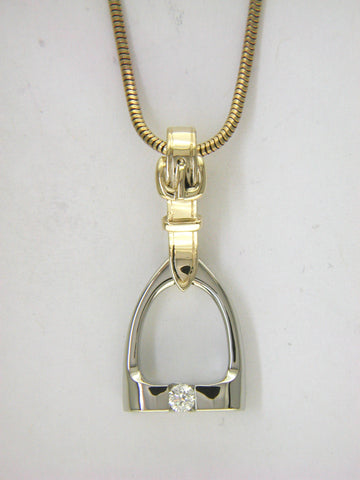 Stirrup Pendant in 14k White & Yellow gold with Diamond