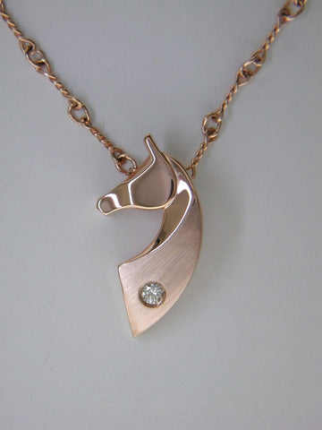 The Classic© Single Pendant in 14k Rose, White, or Yellow Gold with Diamond