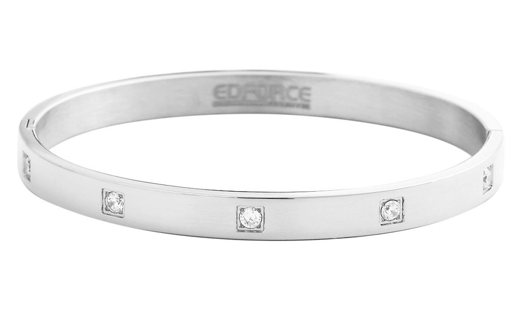 Stainless Steel Bracelets With Square Set CZ's